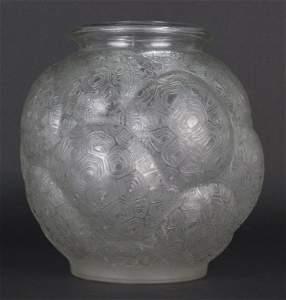 "RARE Rene LALIQUE Tortuse Turtle Back Glass 10.5"" Vase"