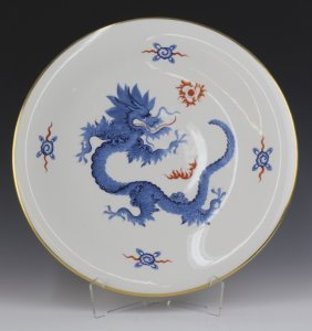 Meissen Porcelain Blue Dragon Charger Tray Plate