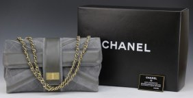 Authentic Chanel Grey Suede Leather Hand Bag Purse