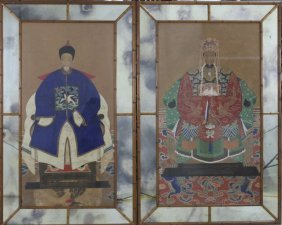 Pair Antique Chinese Ancestral Portrait Paintings