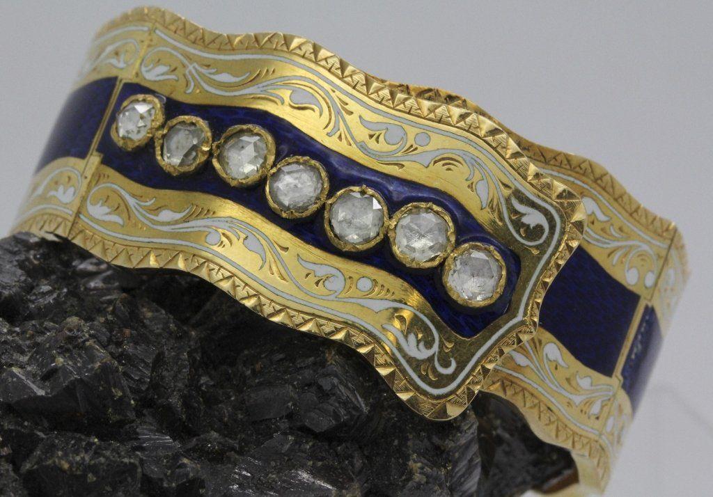 Antique French 18k Gold Rose Cut Diamond Bracelet