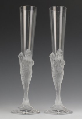 Pair Of Erte Champagne Champagne Glass Flutes