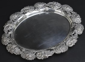 J.e. Caldwell Sterling Silver Floral Serving Tray