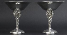 Pair William De Matteo Danish Moderne Silver Tazas