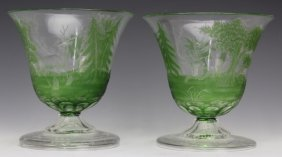 Pair Moser Cameo Intaglio Green Glass Scenic Vases