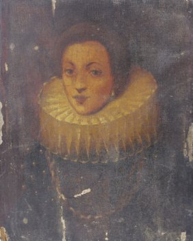 16th Century Style Lady W Collar Portrait Painting