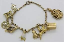VTG Figural 14k Gold Gem Set 9 Charm Bracelet