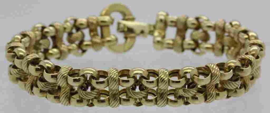 Fine Quality 14k Italy Gold Textured Link Bracelet