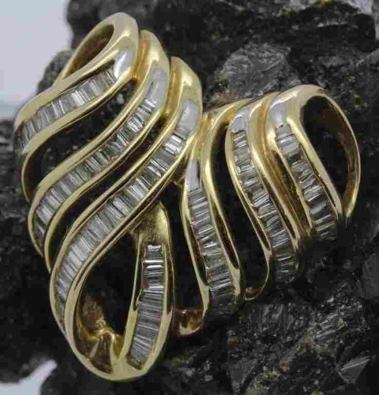 14k Gold 2 Ct Tw Baguette Diamond Heart Slide