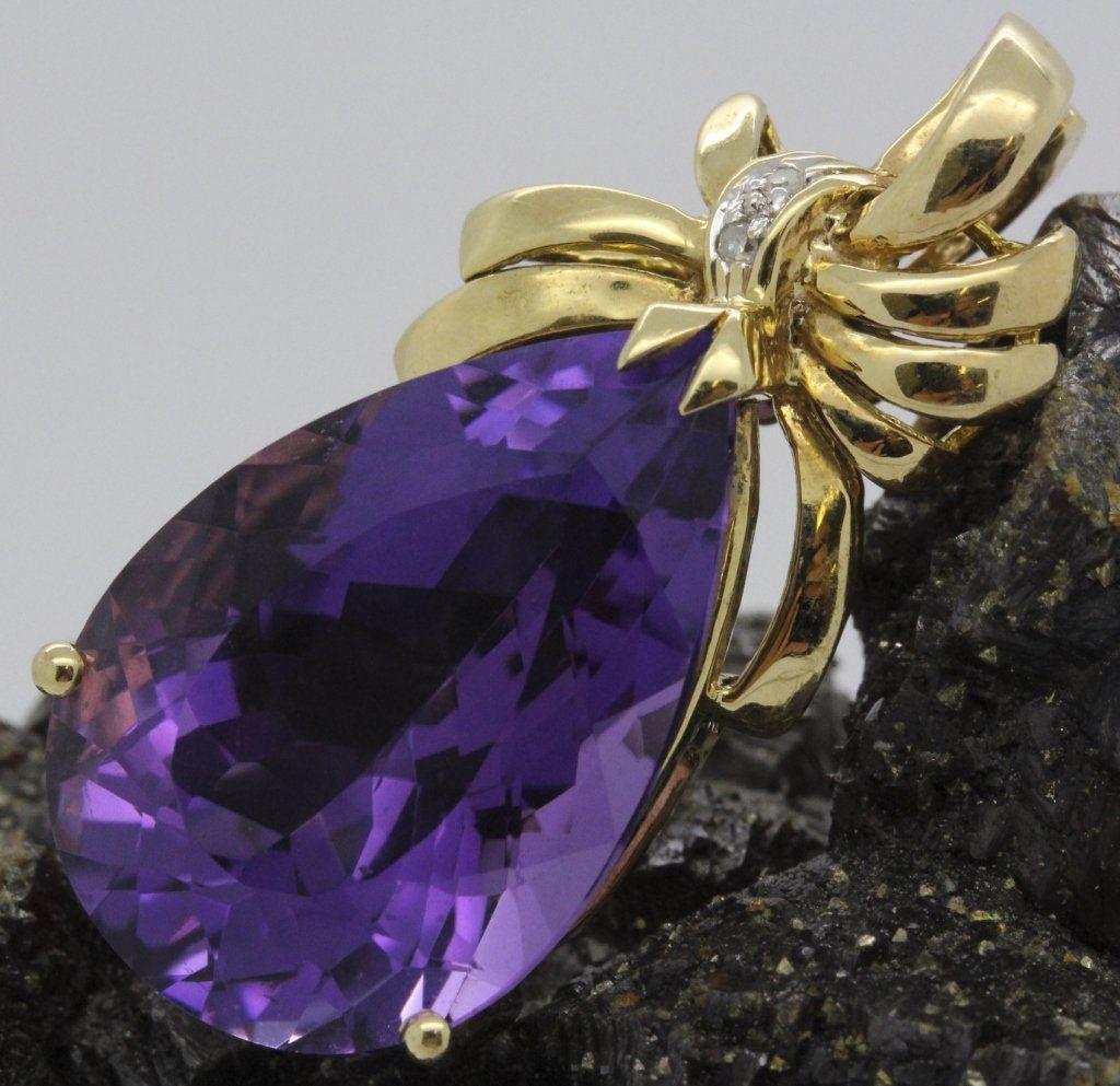 14k Gold Pear Shape Amethyst Diamond Pendant Charm