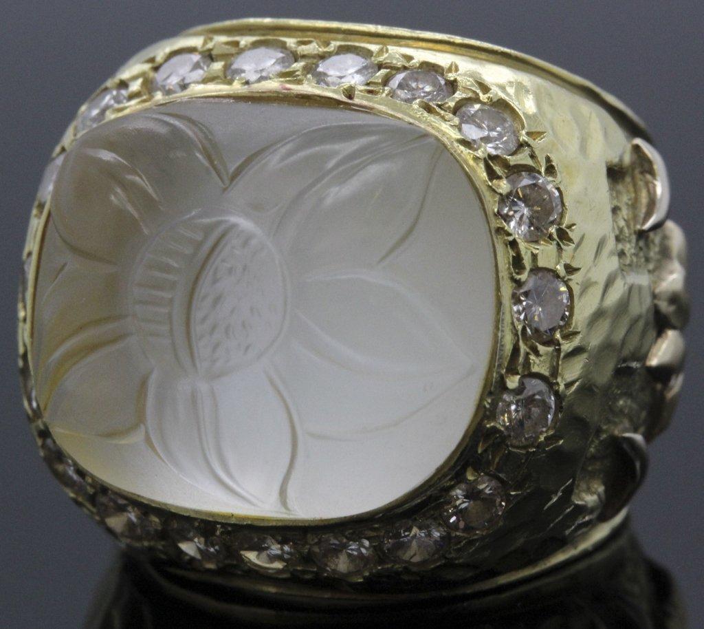 KANARIS 18k Gold 2 CT TWO Diamond Moonstone Ring