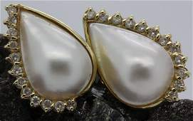 Pair 14k Gold 5 CT TW Diamond Mabe Pearl Earrings
