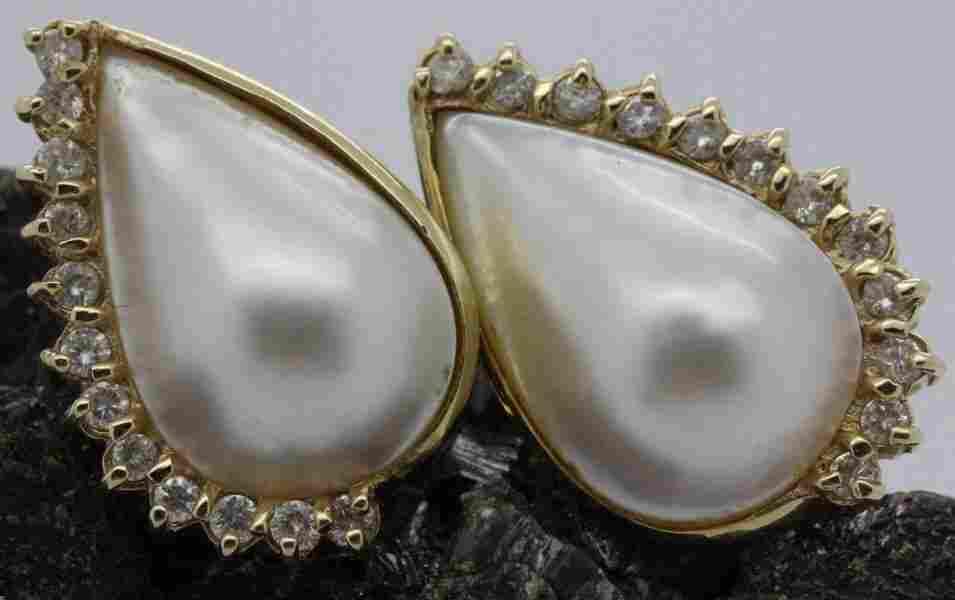 Pair 14k Gold .5 CT TW Diamond Mabe Pearl Earrings