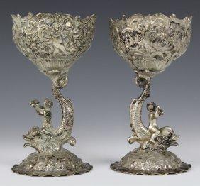 Gebruder Glaser Ornate Hanau Silver Cherub Cups