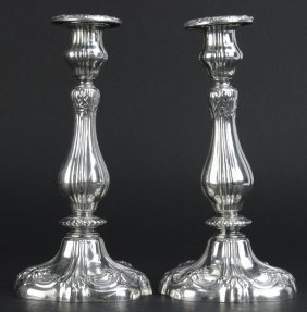 Pair Gorham Sterling Silver Ornate Candlesticks