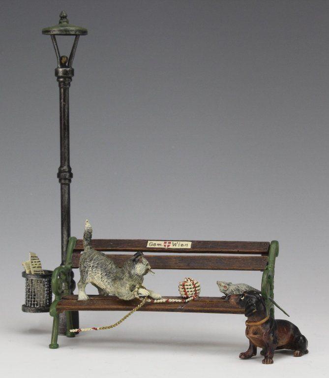 Bergman Austrian Bronze Cats & Dogs Bench Figurine