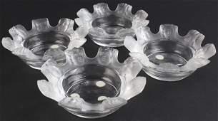 Set 4 Lalique French Crystal St Nicholas Ashtrays