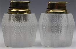 4 Pc Lalique French Crystal JAMAIQUE Smoking Set