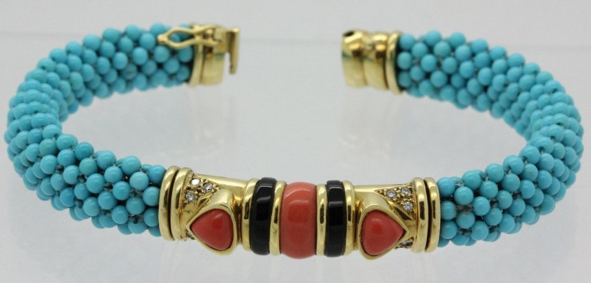 18k Hollywood Regency Coral Turquoise Bracelet