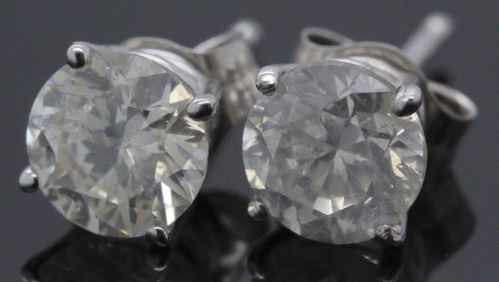 Pr 14k White Gold 1 Carat TW Diamond Stud Earrings