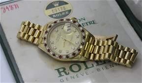 Ladies Rolex 18k Gold Ruby Diamond Presidential