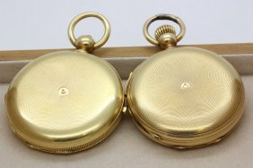 Pair Of Rare 18k Gold Pocket Watches W Repeater