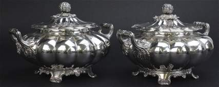 Pr Old Sheffield Silver Plate Melon Fluted Tureens