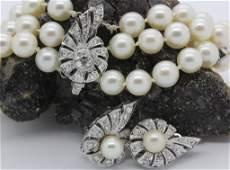 Art Deco 14k Diamond Pearl Earring Bracelet Set