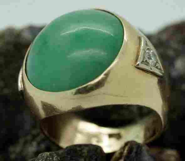 Gents 14k Gold Green Chinese Jade Diamond Ring