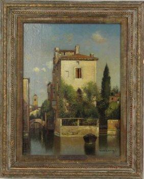 Henry P Smith Venetian Canal Scene Oil Painting