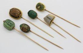 Lot 6 Egyptian Revival Scarab Gold Stick Lapel Pin
