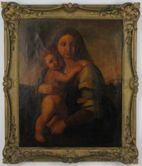 Antique Old Master Madonna & Child Oil Painting