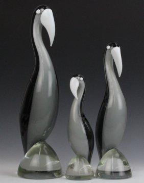 3 Pc Elio Raffaeli Murano Glass Stork Bird Statues