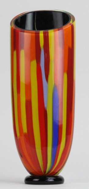 Seguso Viro Murano 14 Red Orange Glass Vase