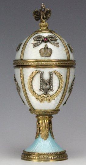 Important Russian Enamel Gilt Silver Enamel Egg