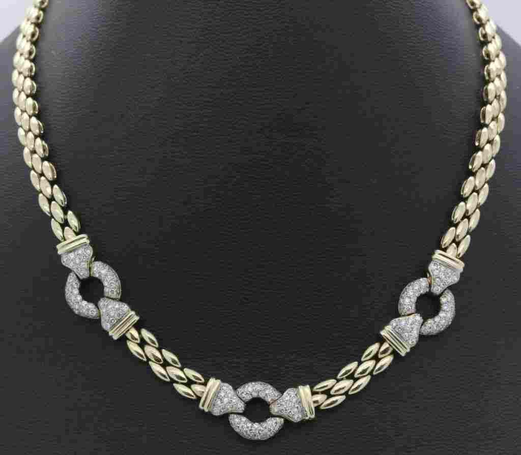 Designer 14k Gold 1.5 CTTW Pave Diamond Necklace