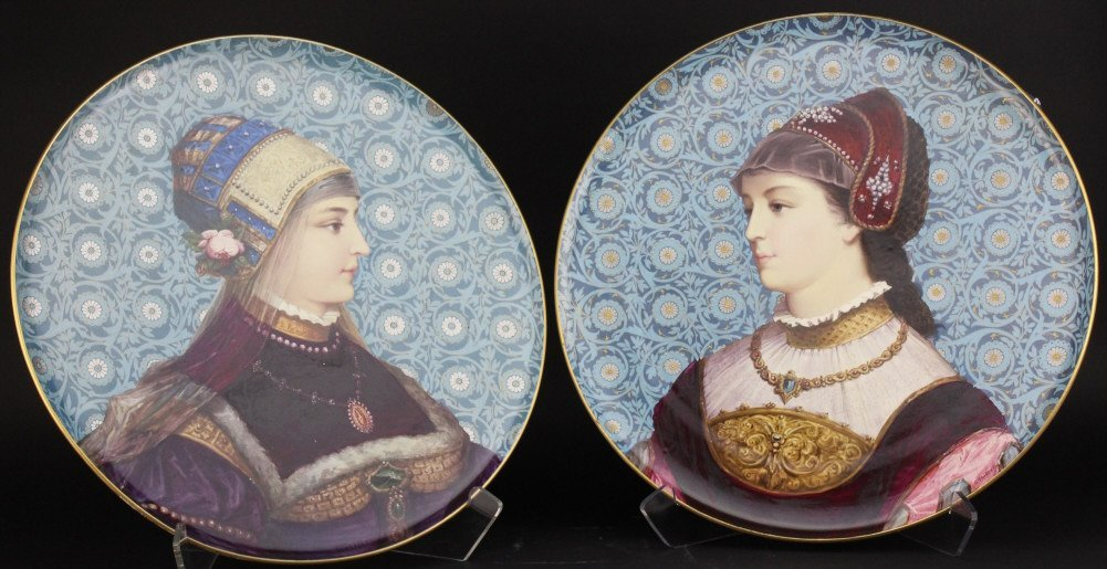 "PAIR Antique Georges Poitevin French 20"" Charger Plate"