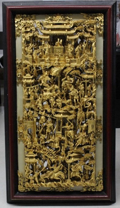 "LARGE 58"" Chinese Hand Carved Gold Gilt Wood Panel"