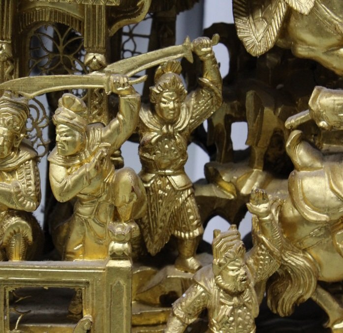 """LARGE 58"""" Chinese Hand Carved Gold Gilt Wood Panel - 7"""
