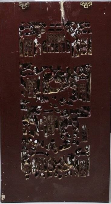 """LARGE 58"""" Chinese Hand Carved Gold Gilt Wood Panel - 8"""
