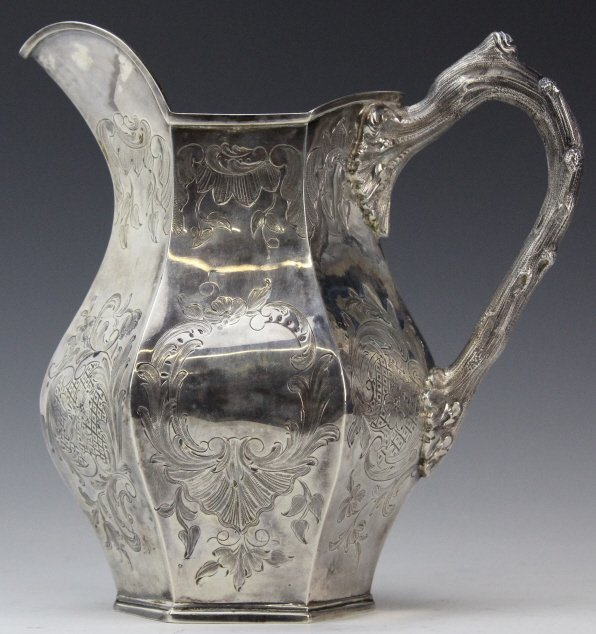 19th Cen. Joseph Angell English Silver Engraved Pitcher