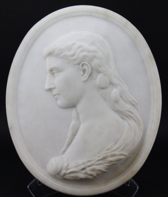 Signed MARGARET FOLEY Carved Marble Bust Plaque