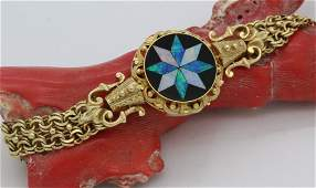 Ornate Victorian Revival Opal 14K Gold 7 Bracelet