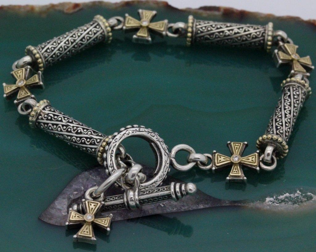 Konstantino 18k Gold & Silver Cross Diamond Bracelet