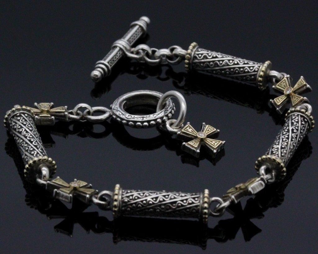 Konstantino 18k Gold & Silver Cross Diamond Bracelet - 3