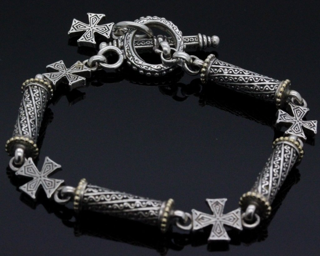 Konstantino 18k Gold & Silver Cross Diamond Bracelet - 6