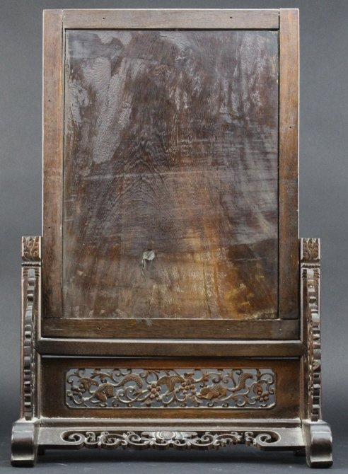 Antique Chinese Scenic Inlaid Stone Lacquer Screen - 7