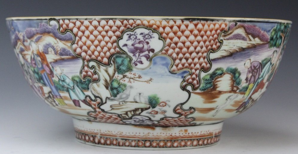 Antique Chinese Rose Mandarin Porcelain Punch Bowl - 5