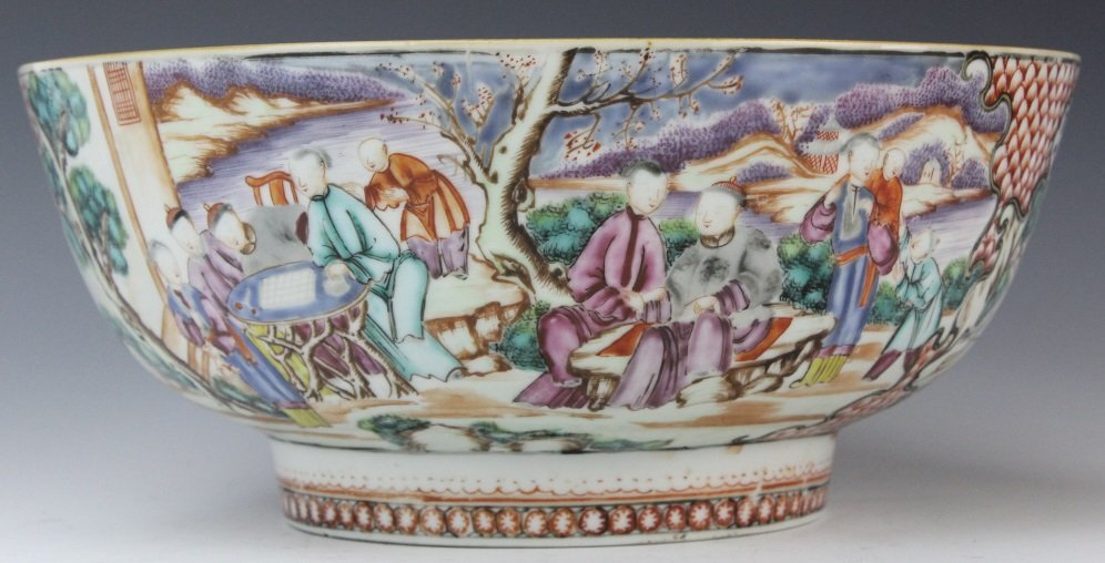 Antique Chinese Rose Mandarin Porcelain Punch Bowl - 6