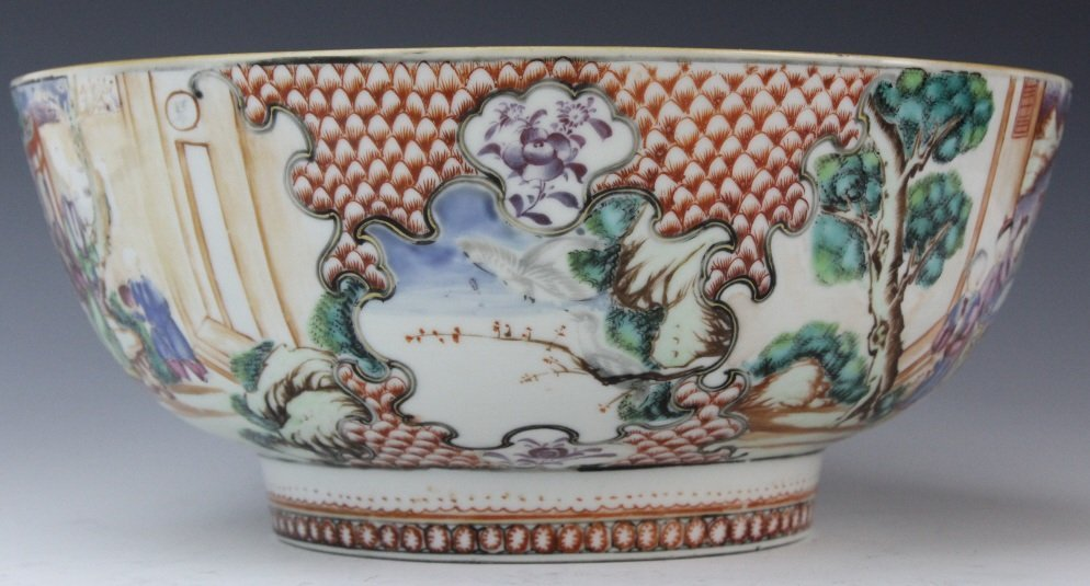 Antique Chinese Rose Mandarin Porcelain Punch Bowl - 8
